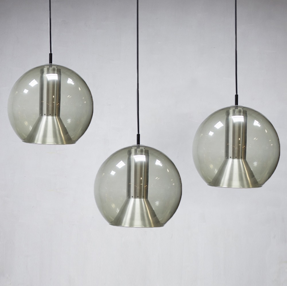 set of 3 hanging lamps from the sixties by frank ligtelijn for raak. Black Bedroom Furniture Sets. Home Design Ideas