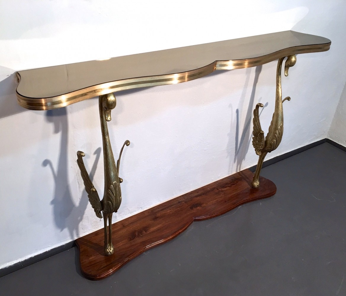 Italian console table with two bronze swans glass top 61123 italian console table with two bronze swans glass top geotapseo Choice Image