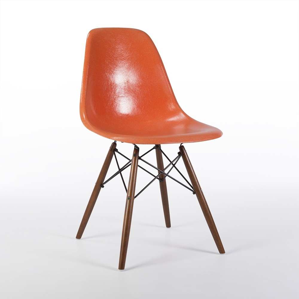 Orange herman miller original eames dsw side shell chair 61160 - Herman miller chair eames ...
