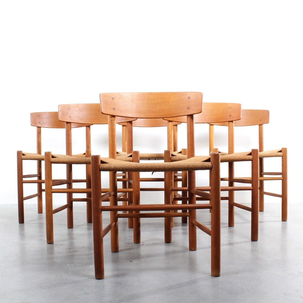 fdb møbler Set of 6 J39 dinner chairs by Børge Mogensen for FDB Møbler, 1950s  fdb møbler