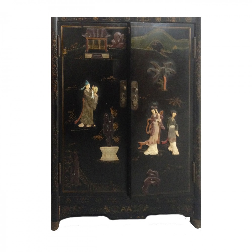 Antique Chinese cabinet in black lacquer with two painted doors & marble &  jade figures - Antique Chinese Cabinet In Black Lacquer With Two Painted Doors