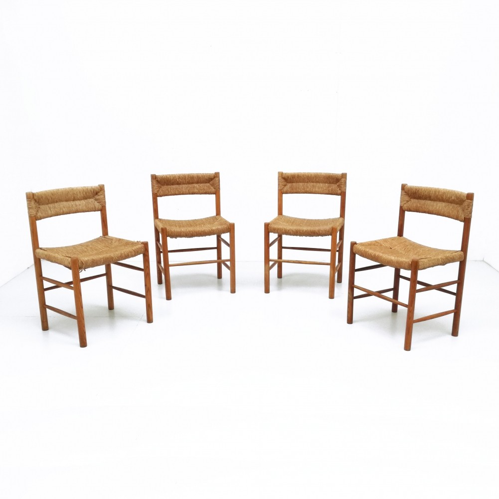 Set of 4 Dordogne dinner chairs from the fifties by Charlotte Perriand for Sentou