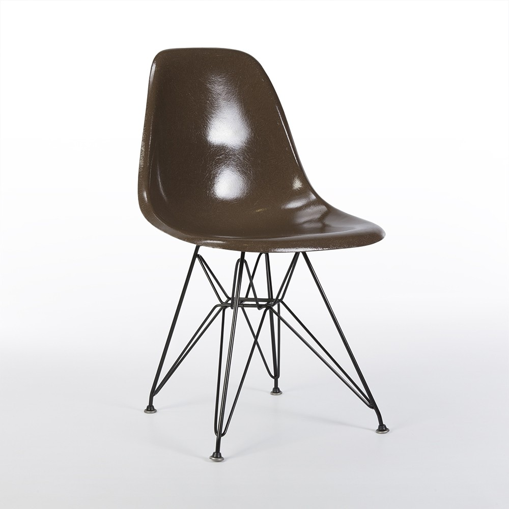 original brown eames dsr side shell chair 61819. Black Bedroom Furniture Sets. Home Design Ideas