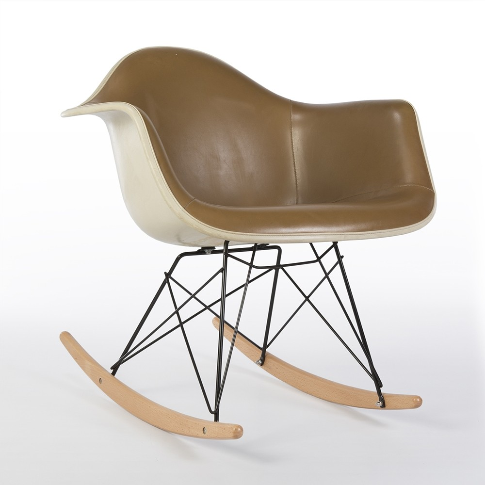 original alexander girard brown upholstered eames rar arm. Black Bedroom Furniture Sets. Home Design Ideas