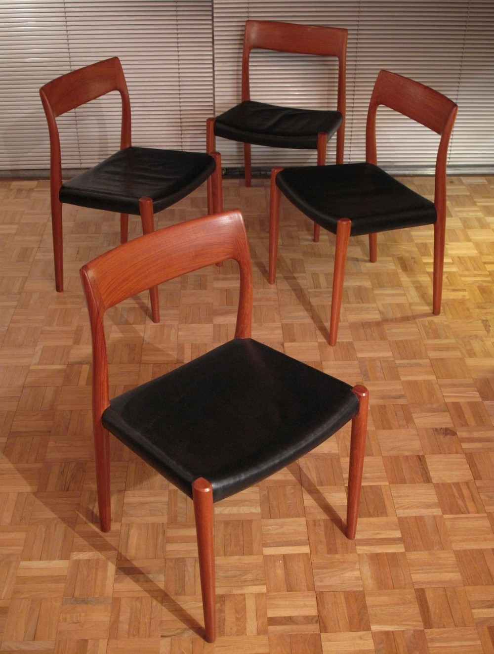 Niels moller model 77 teak black leather chairs 61901 for Affordable modern furniture miami