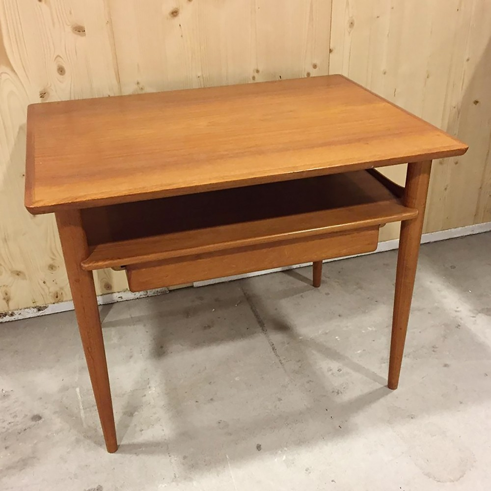 Danish Teak Coffee Table With Drawer, 1950s