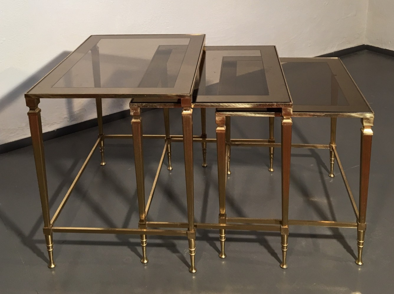 Nesting Tables brass & mirrored glass french nesting tablesmaison jansen | #62463
