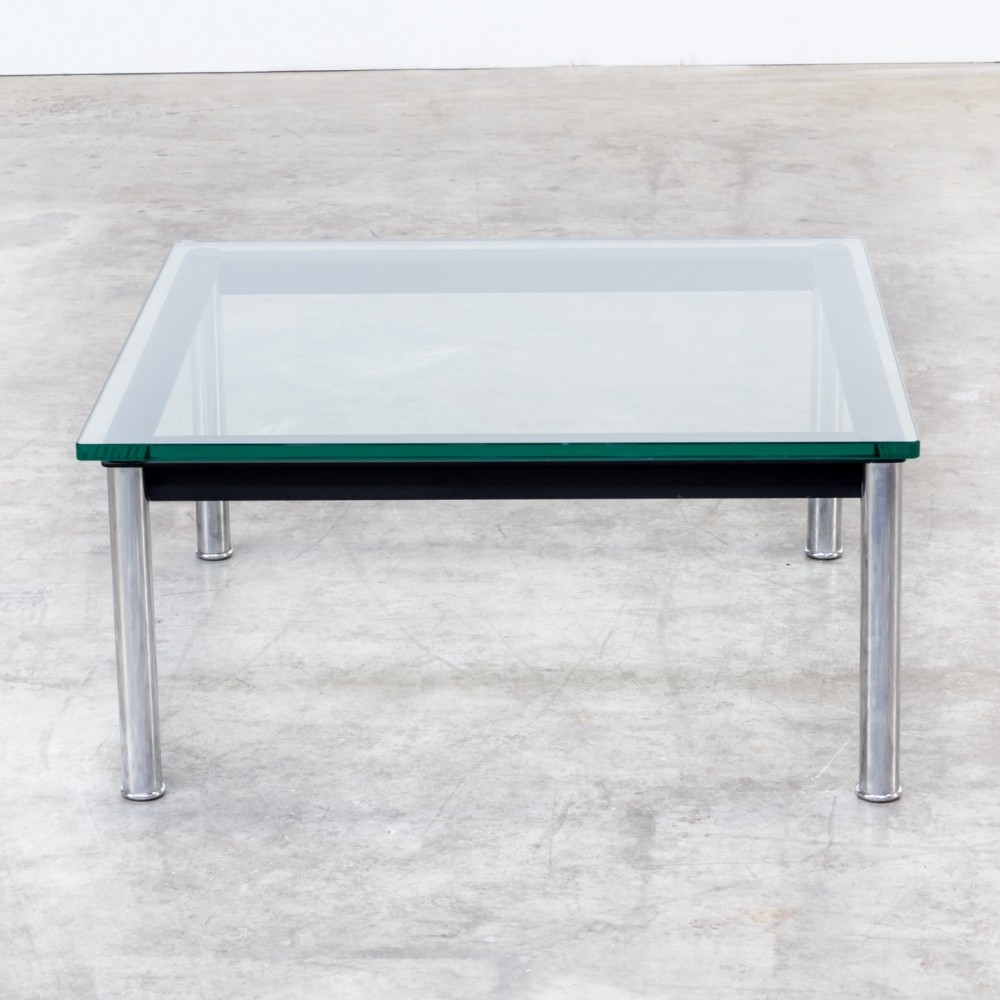 lc10p coffee table from the eighties by le corbusier charlotte perriand for cassina 62683. Black Bedroom Furniture Sets. Home Design Ideas