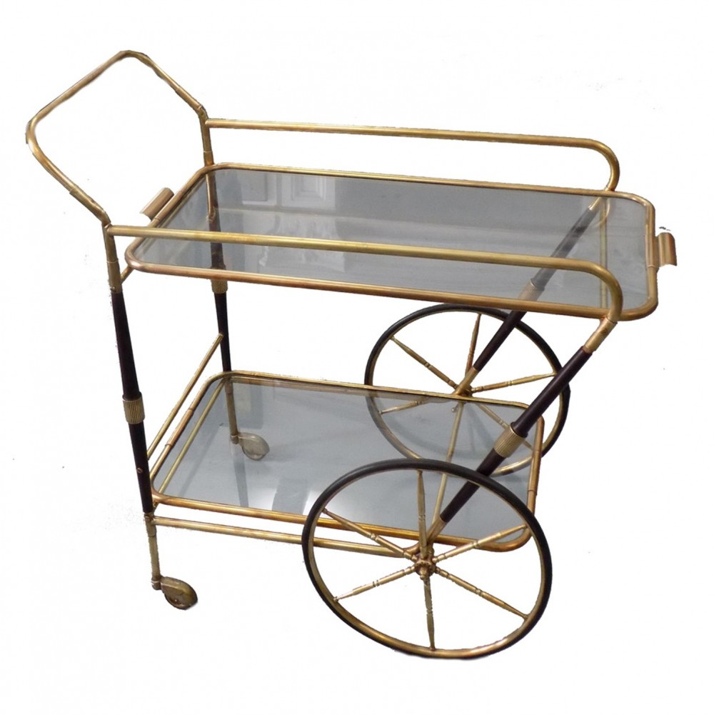 Brass trolley with two glass shelves, 1950s   #62858