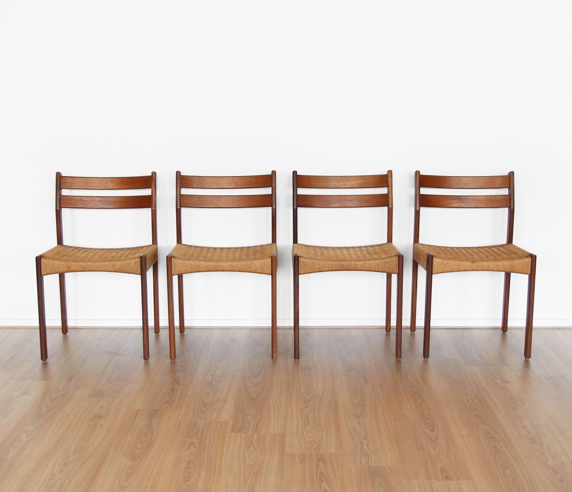 Set Of Four Teak Cane Dining Chairs 1960s 63049