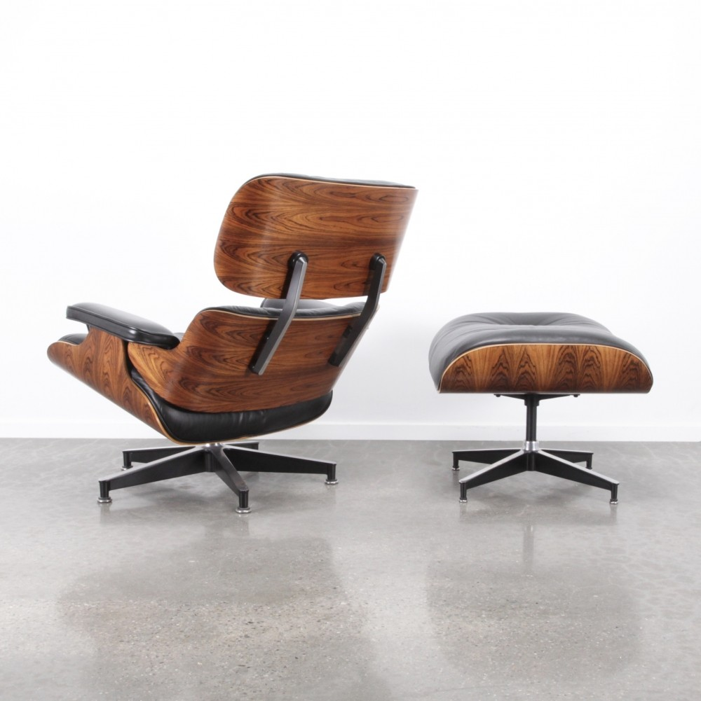 Eames Lounge Chair Ottoman Rosewood Black Leather