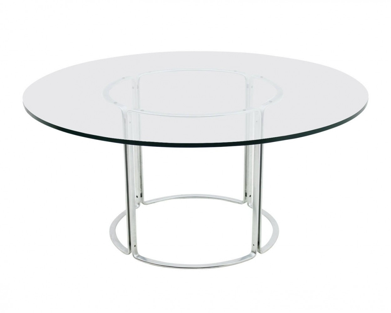 Large Glass & Steel Dining Table by Horst Brüning for Kill International, 1970s