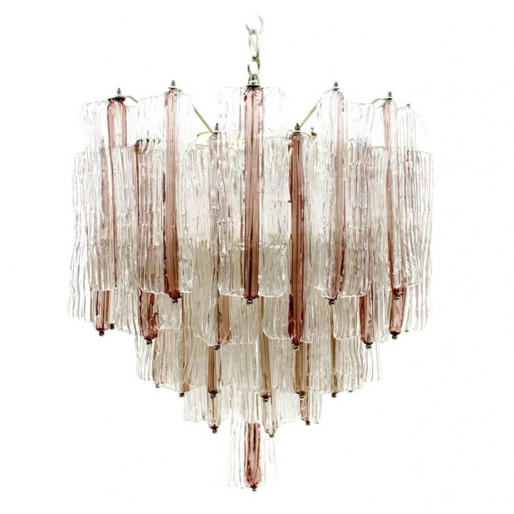 Two tone murano chandelier hanging lamp by toni zuccheri for two tone murano chandelier hanging lamp by toni zuccheri for venini 1960s arubaitofo Images