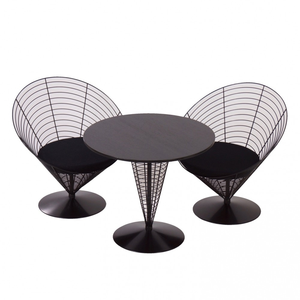 Cone Table with Two Cone Chairs by Verner Panton from Fritz Hansen, 1980s