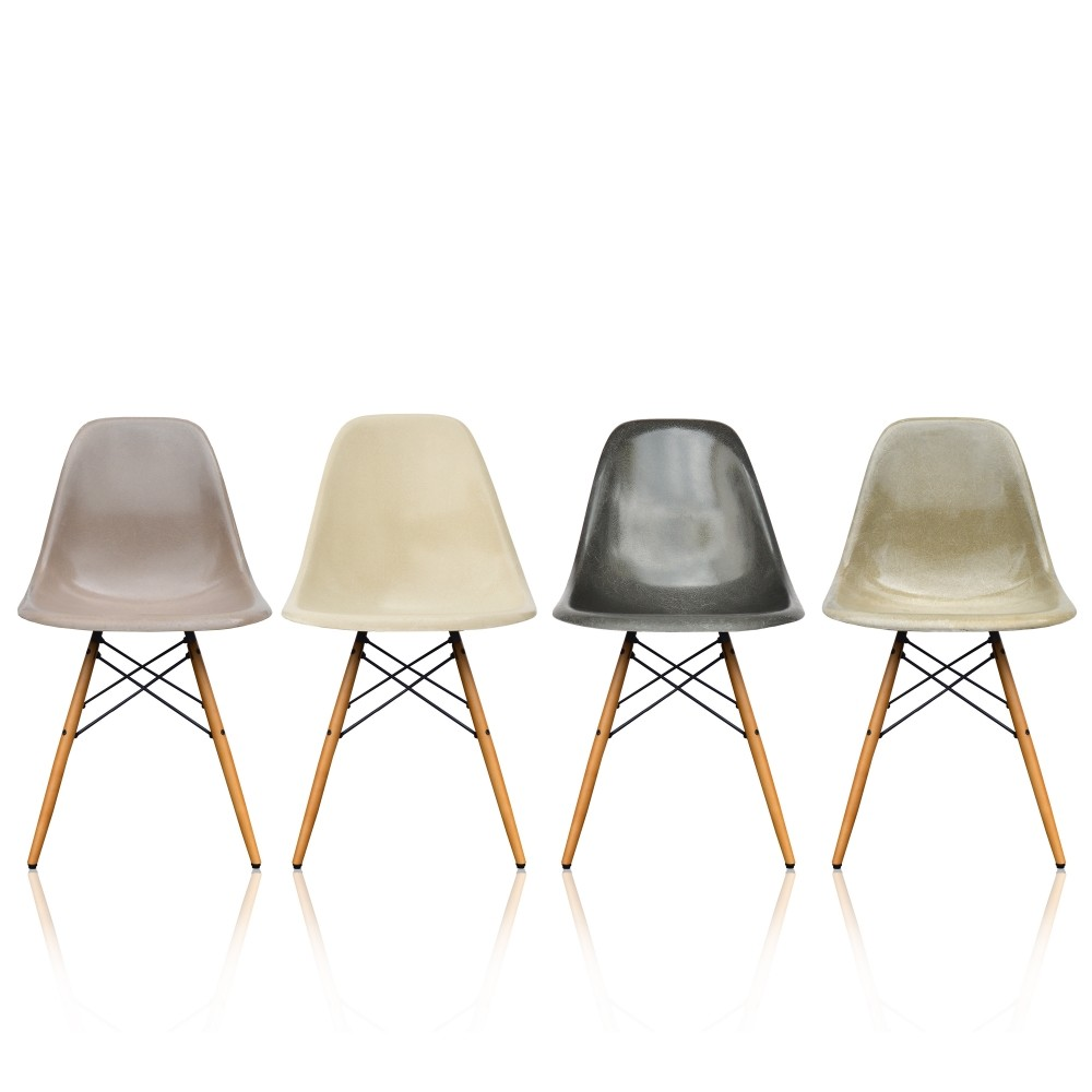 set of 4 eames dsw fiberglass dining chairs with original vitra bases 1950s 65002. Black Bedroom Furniture Sets. Home Design Ideas