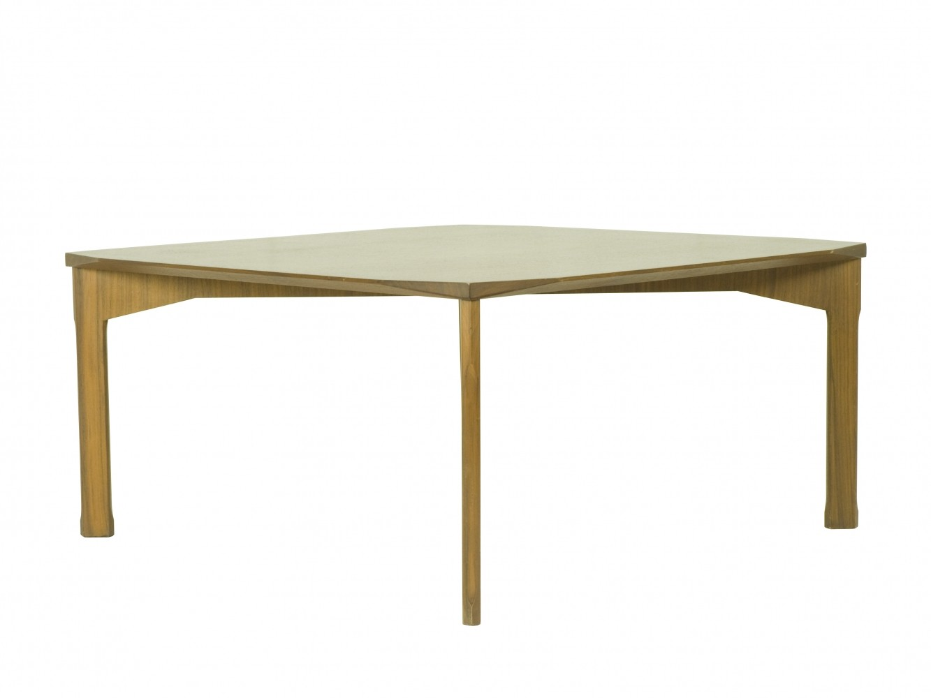 Mid century Teak wood coffee table with faceted corners 1950s