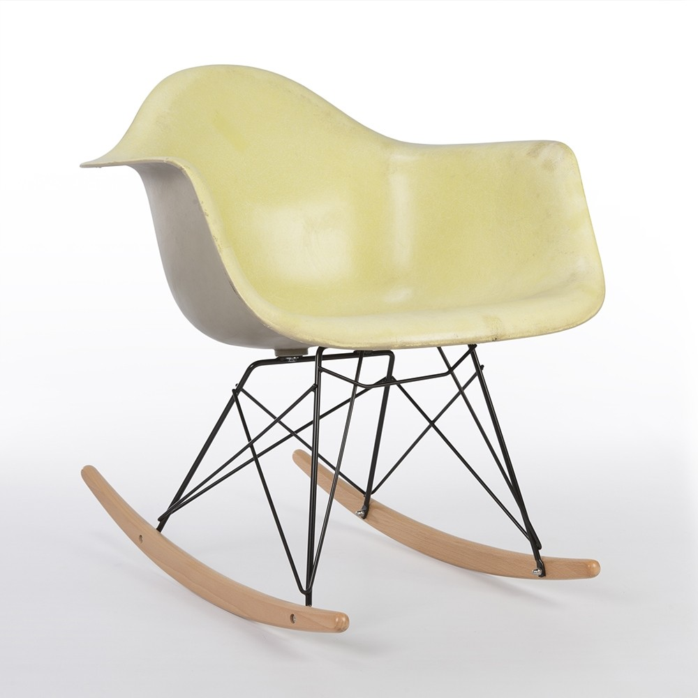 Original eames chair - Original Eames Herman Miller Yellow With Grey Back Rar Rocking Arm Chair