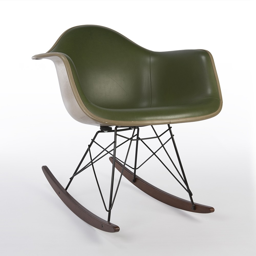 original green upholstered eames greige shell rar chair 60869. Black Bedroom Furniture Sets. Home Design Ideas