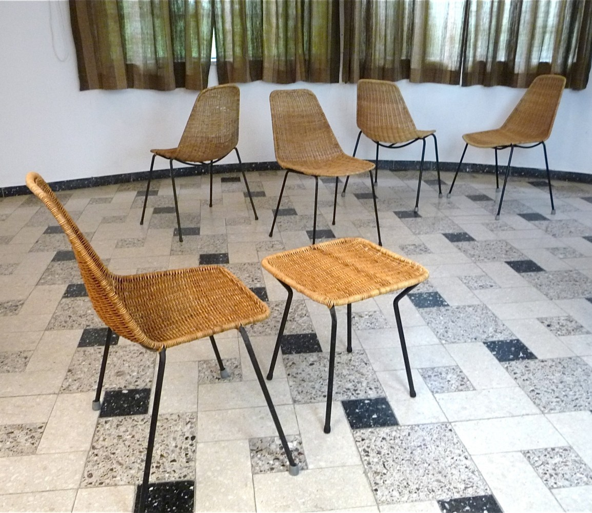 Set of 6 Basket Chairs & Stool by Gian Franco Legler for Bonacina Pierantonio, 1950s