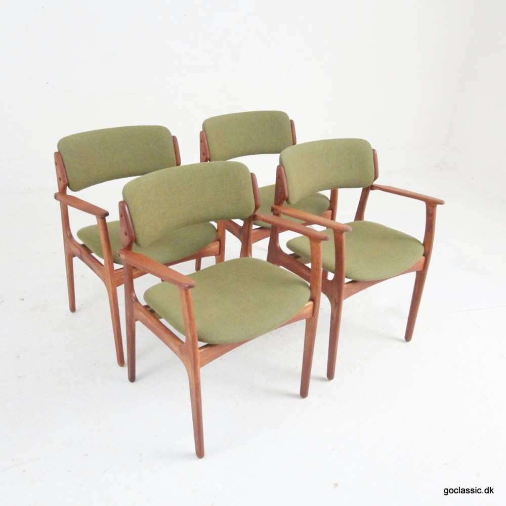 Set of 4 Model 50 dinner chairs by Erik Buch, 1960s