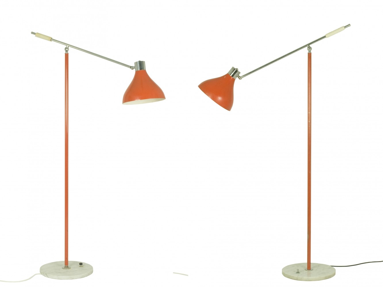 Pair of floor lamps produced by falkenbergs belysning ab in sweden at - Pair Of Articulated Floor Lamps By Stilux Milano Early 1960s