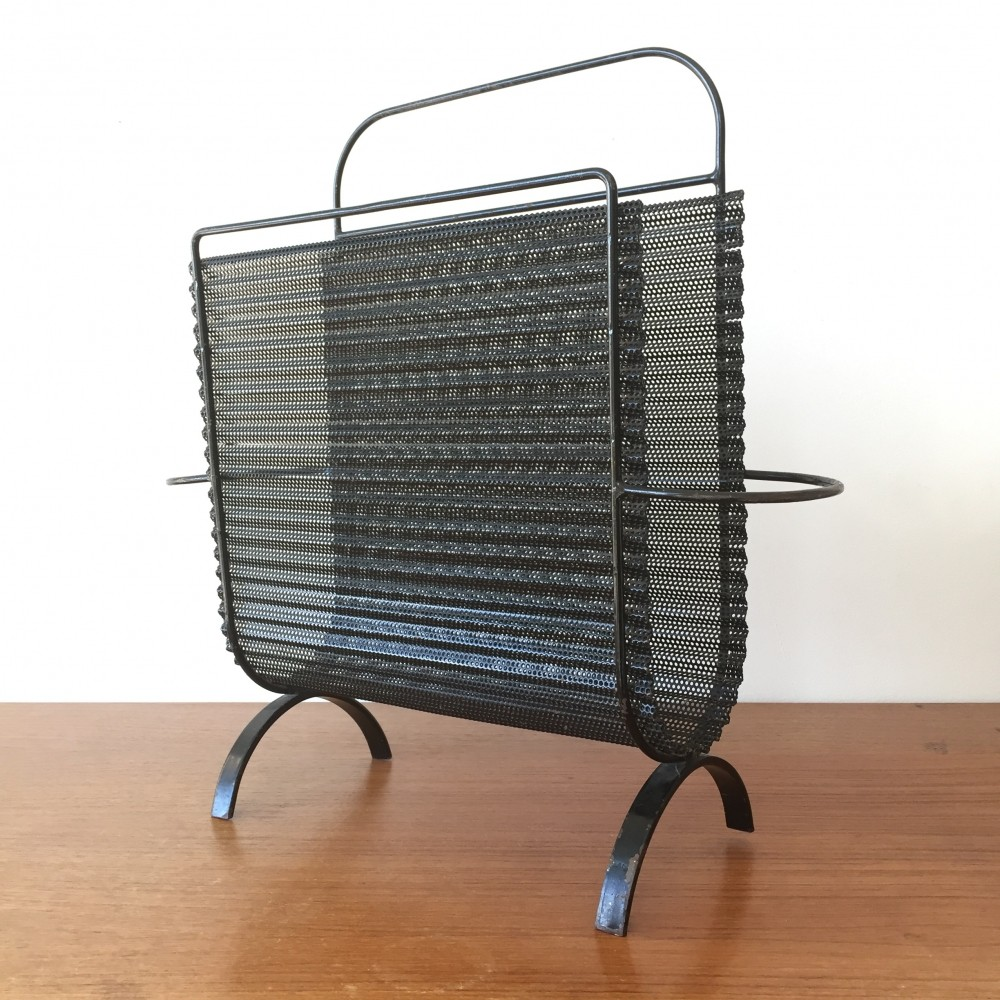Perforated metal rigitulle magazine stand by Mathieu Mategot