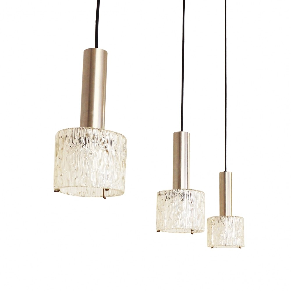 Set Of 3 Glass Amp Brushed Metal Pendant Lights 1960s