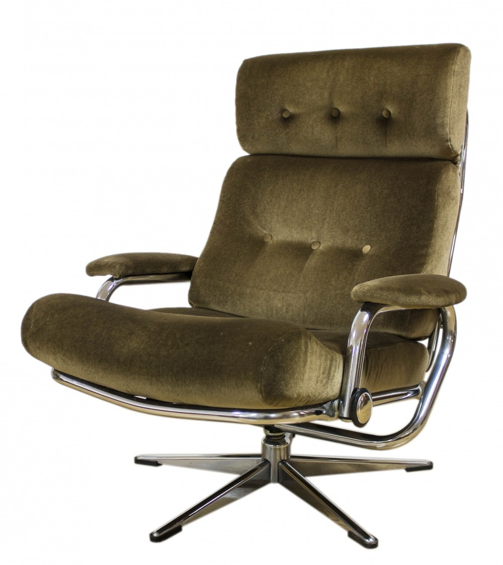 Danish Design Chrome & Fabric Recliner Armchair, 1960s