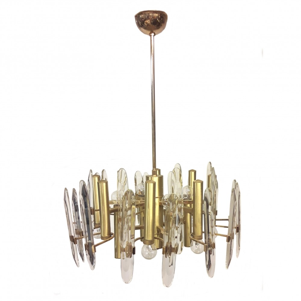 Large Gold-Plated Crystal Chandelier with Twelve Lights by Gaetano ...