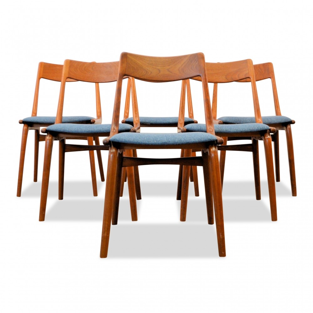 High Quality Seating / Dinner Chairs / Alfred Christensen Teak U0027Boomerangu0027 Dining  Chairs, 1960s