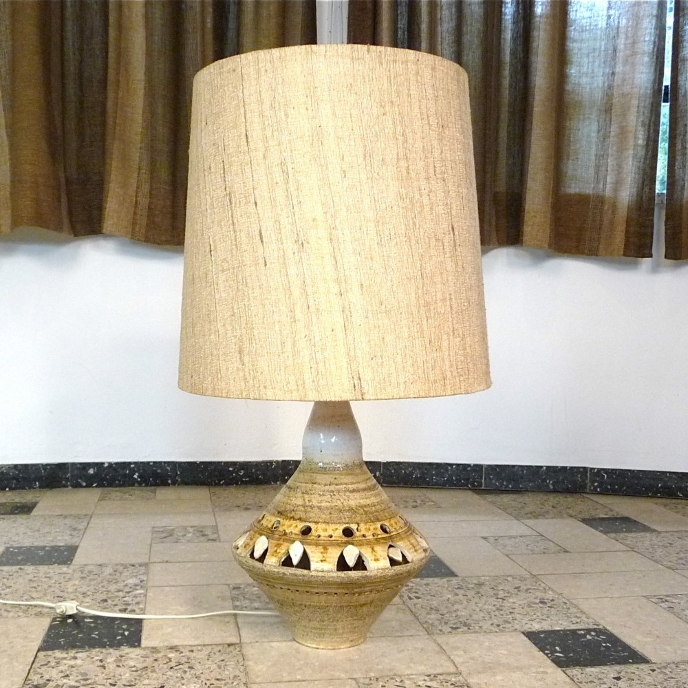 Ceramic table lamp by georges pelletier for accolay 1960s
