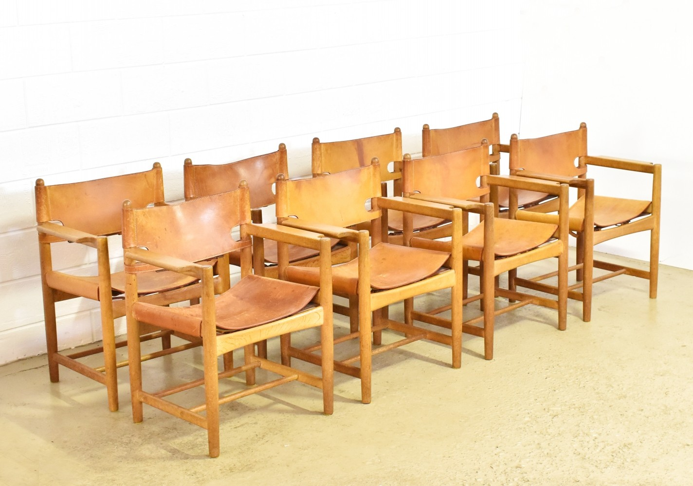 Set of 8 3238 Hunting dinner chairs by Børge Mogensen for Fredericia Stolefabrik, 1970s