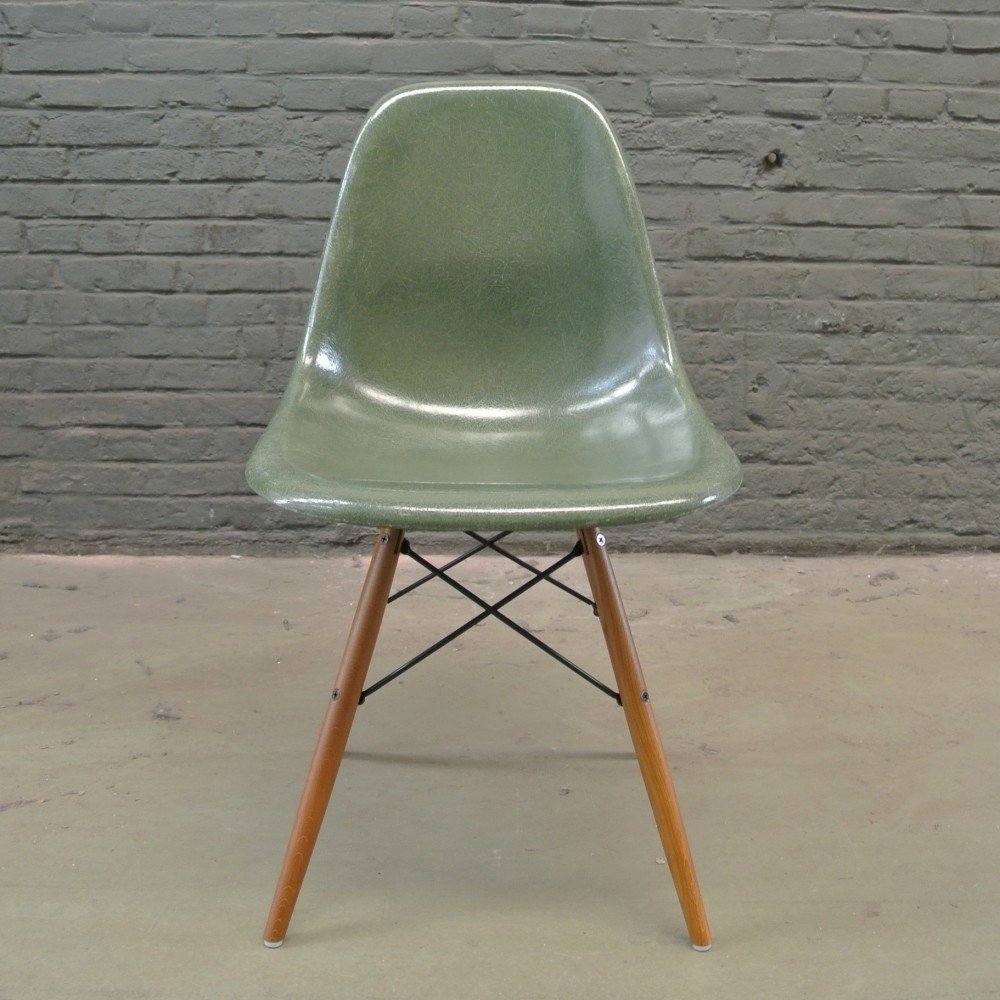 2 x DSW Olive Green dinner chair by Charles & Ray Eames for Herman
