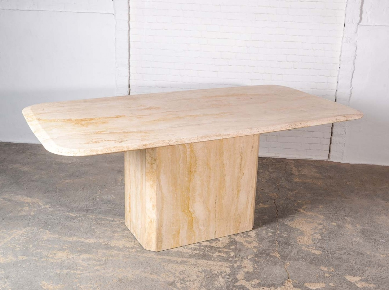 Mid century high quality travertine dining table 1960s for Good quality dining tables