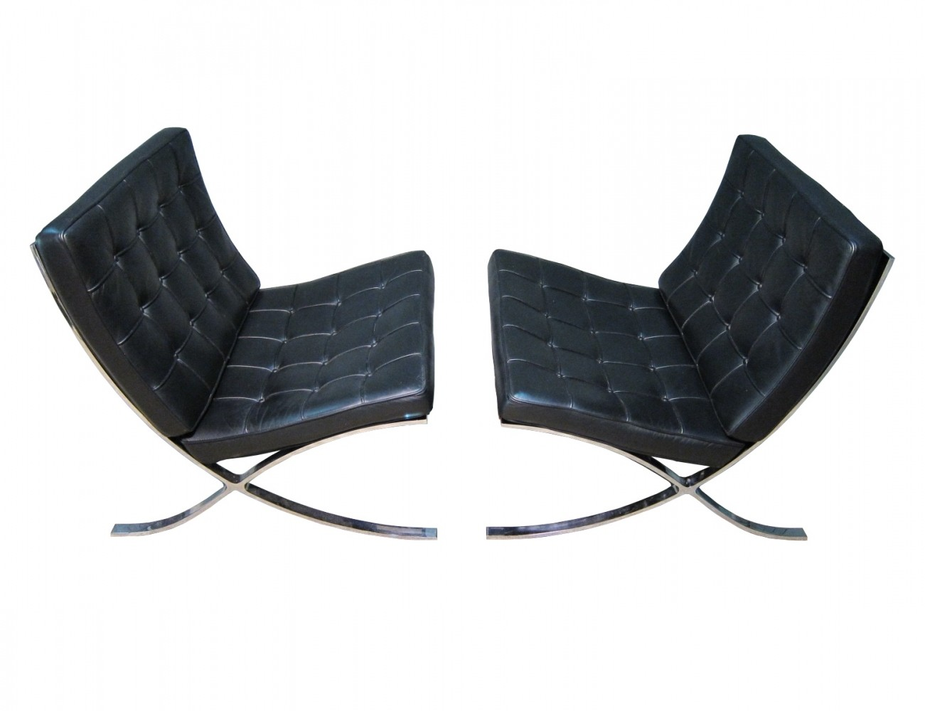 vintage knoll international barcelona chairs by ludwig. Black Bedroom Furniture Sets. Home Design Ideas