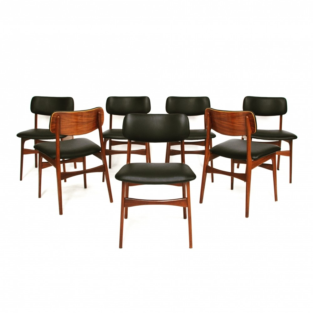 set of 7 danish teak dining chairs with new calf skin leathe
