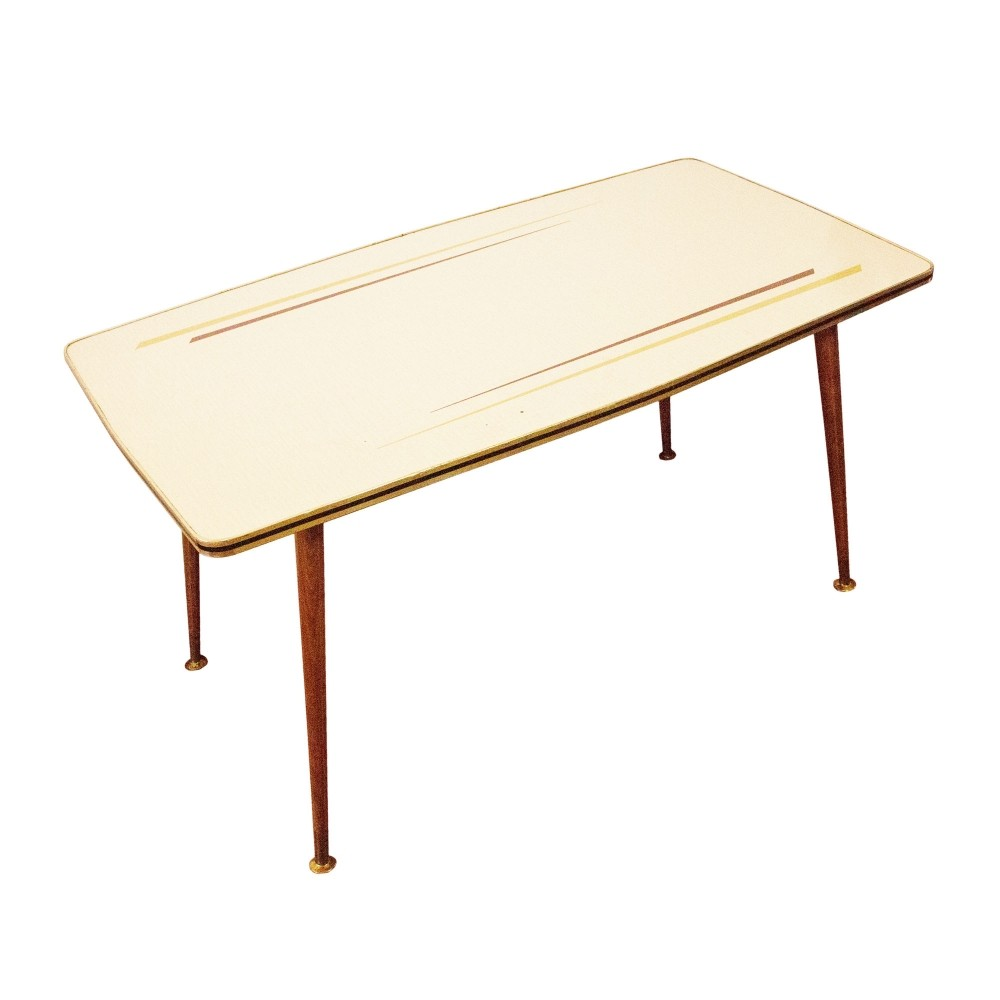 Coffee Table With Brass Clogs U0026 Formica Top