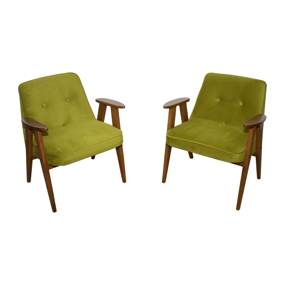 Pair of J³zef Chierowski s 366 armchairs made in Poland