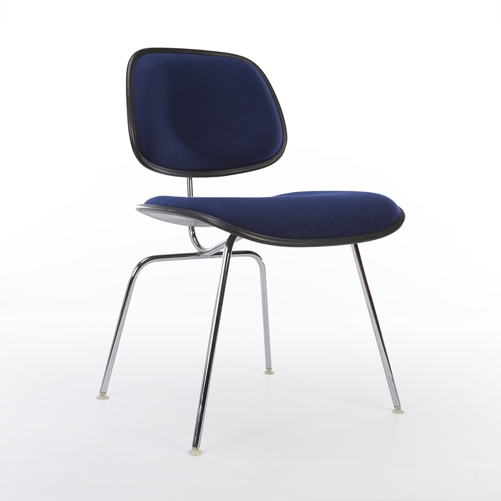 herman miller eames chair. Original Herman Miller Eames Blue Upholstered Plastic DCM Chair A