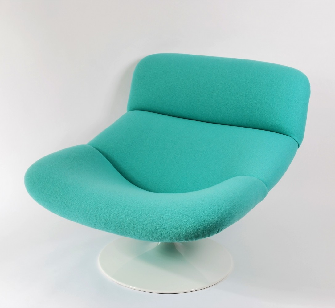 F518 Aqua Blue Lady Lounge Swivel Chair By Geoffrey Harcourt