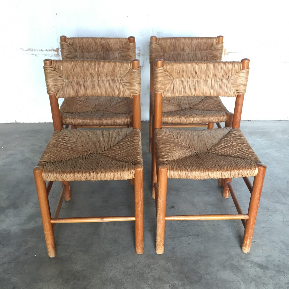 set of 4 french pine chairs by charlotte perriand for sentou 1960s 68016. Black Bedroom Furniture Sets. Home Design Ideas