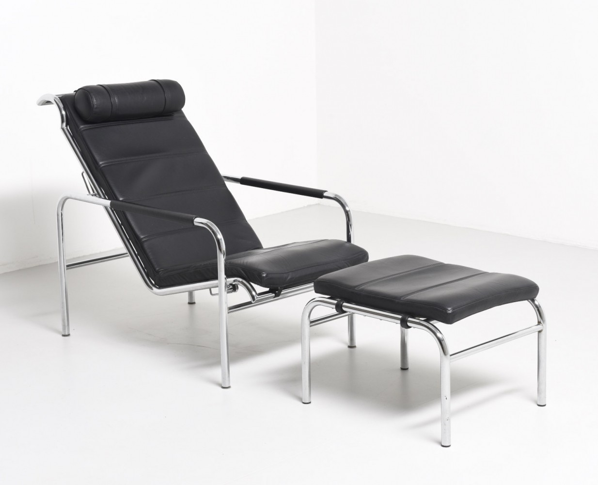 Black Leather Lounge Chair Ottoman by Gabriele Mucchi for Zanotta