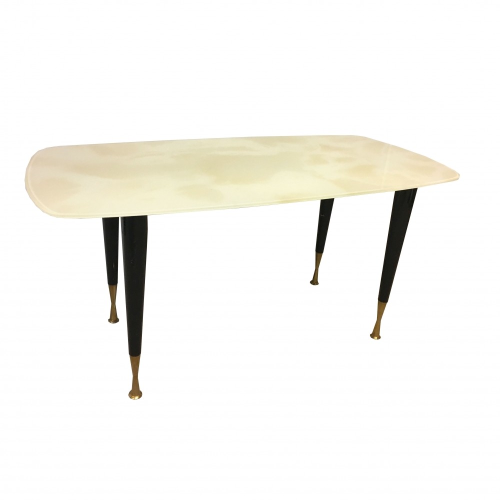 Coffee table with metal frame, brass legs & white marbled glass top ...