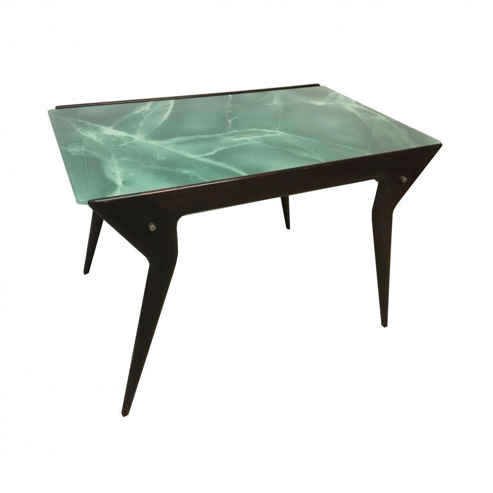Coffee table with mahogany structure & green marbled glass top