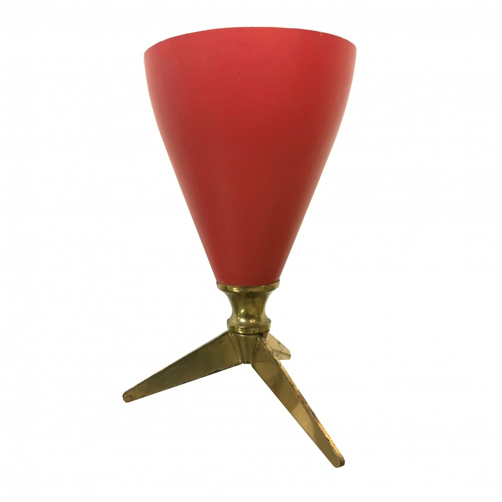 Red Metal Cone Table Lamp With Brass Feet, 1950s