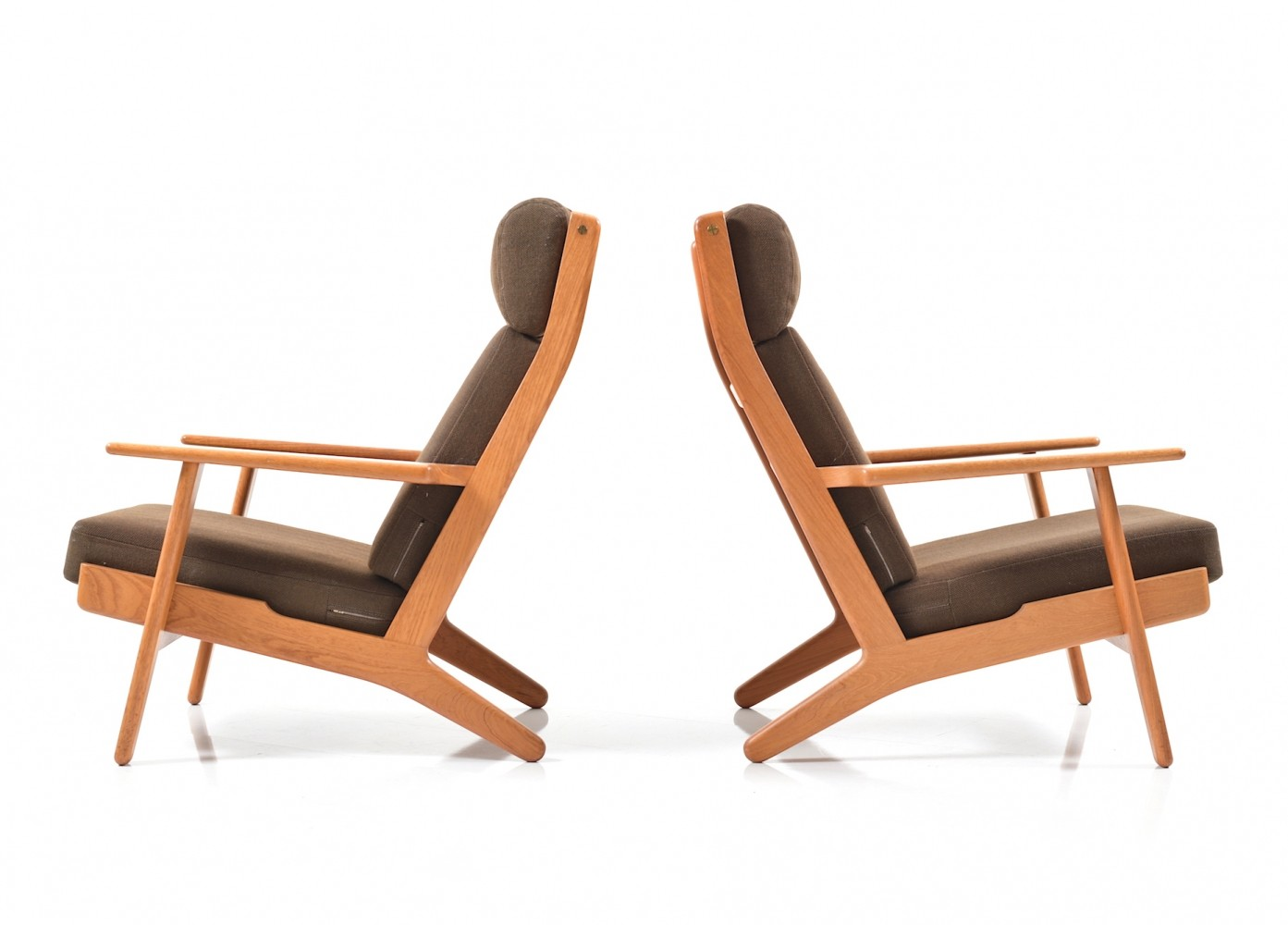GE 290 Pair of Highback Lounge Chairs in Teak by Hans J Wegner