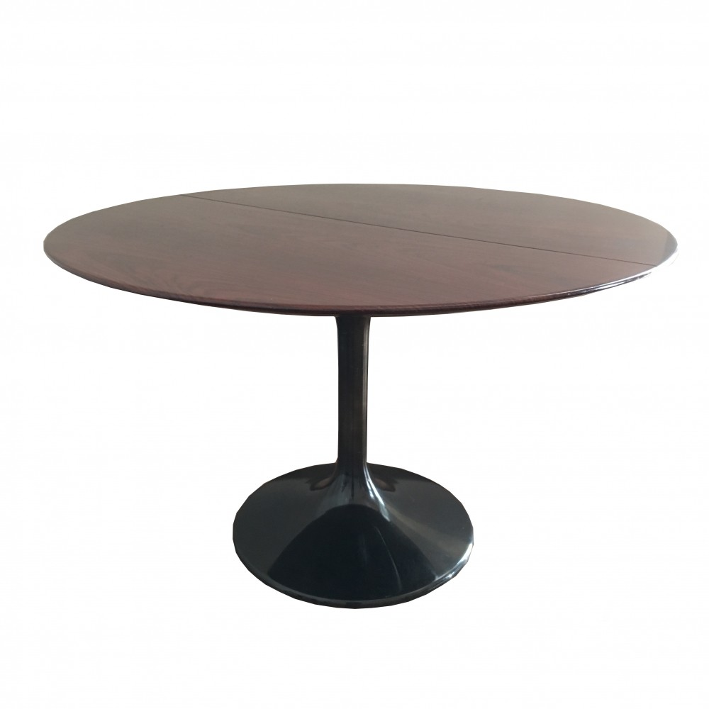Dining table with base in black nickel-plated aluminum & extending rosewood top, 1970s