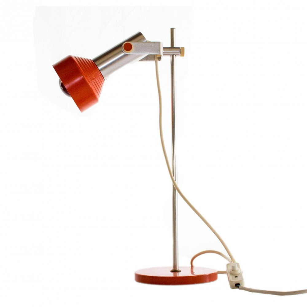 Atomic Age orange table lamp made by AKA Electric, Germany | #68389