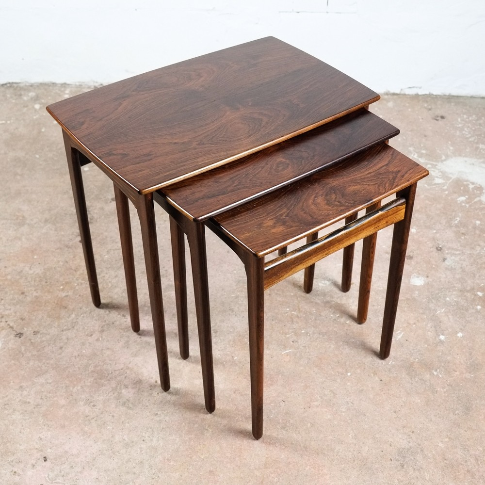 danish nest of 3 side tables in rosewood 1960s