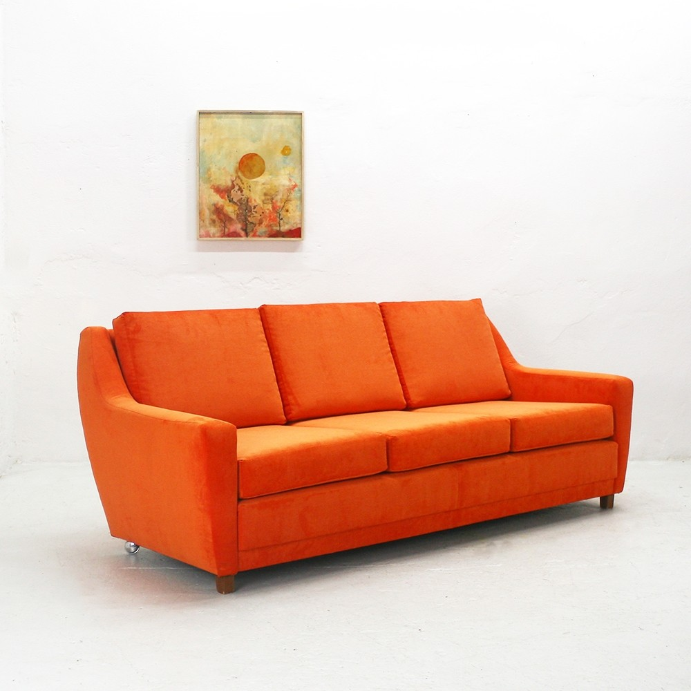 reupholstered 70s lounge sofa in bright orange 69013. Black Bedroom Furniture Sets. Home Design Ideas